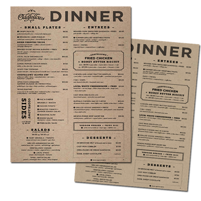 "Menus 8.5"" x 11"" Kraft Paper Stocks"