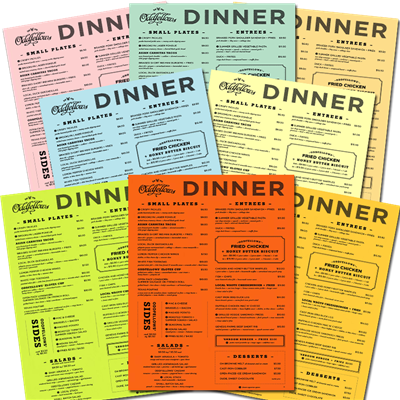 "Menus 8.5"" x 11"" Colored Stock"